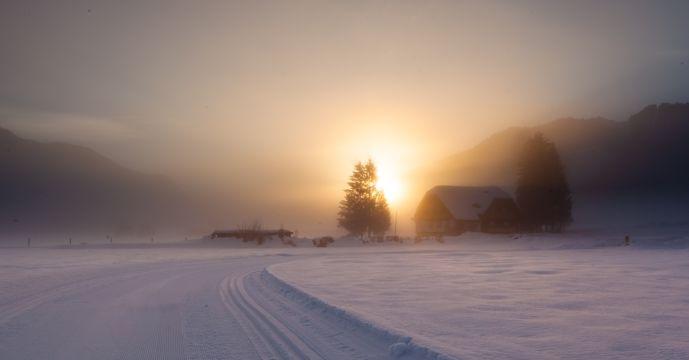 冬日朝阳景色图片