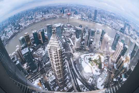 上海雨雪天气建筑景致图片