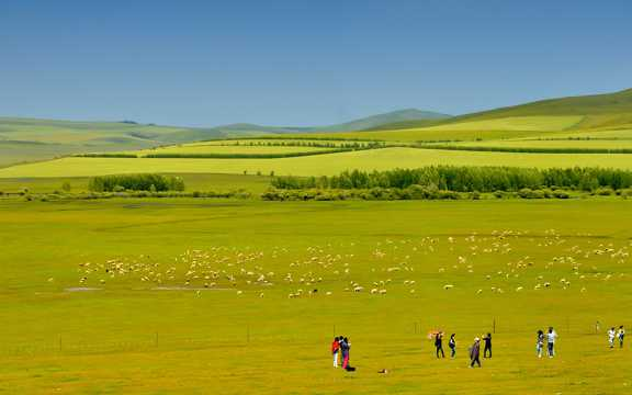 内蒙古科尔沁草地景致图片