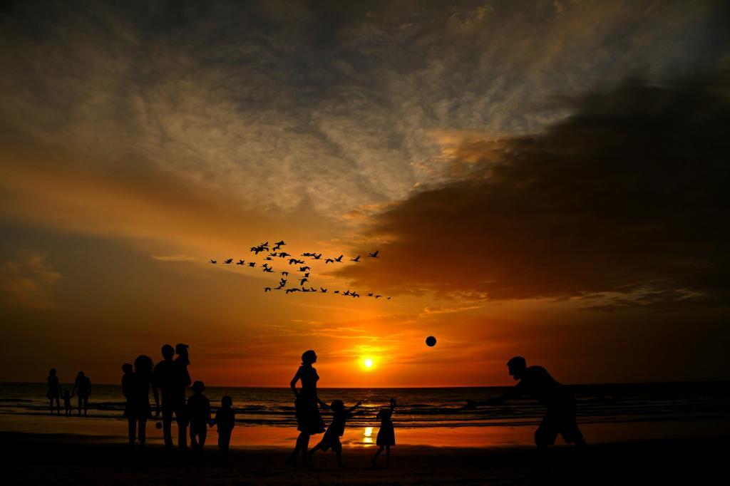 海滩, 家庭, 儿童, 人类, 假日, 假期, 海