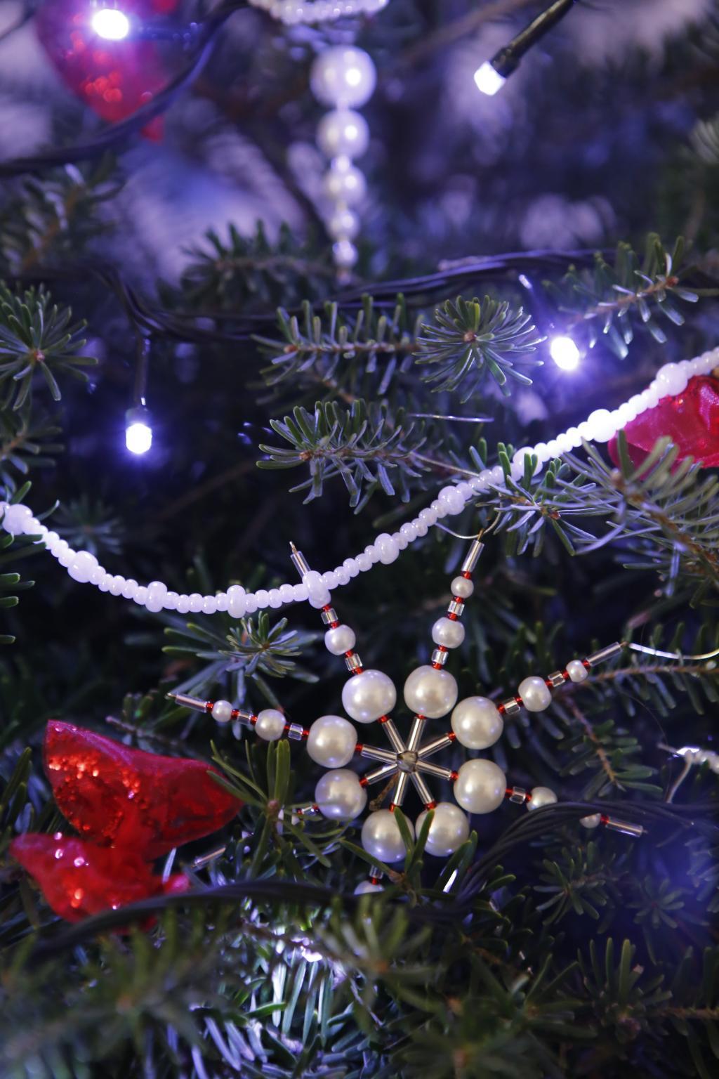 圣诞节, 圣诞节, 串珠饰品, 白色, 红色, 光, 树