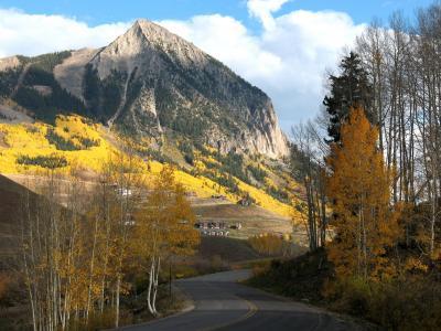 凤头山丘, 科罗拉多州, 山, 秋天, 自然, 道路, 景观