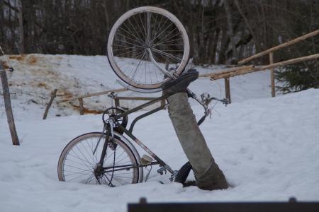 自行车, 骑自行车的人, 骑自行车, 事故, 秋天, 雪, 卡