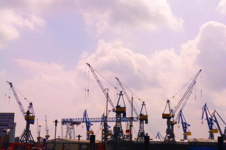 汉堡, 端口, 起重机, 海港, 起重机, 云彩