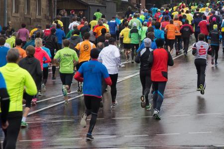 运行, 体育, 适合, 趣味奔跑, 慢跑, 人, 街道