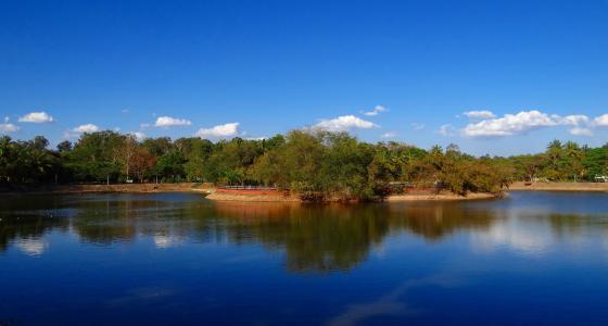 湖, 天空, 水, 蓝色, 地平线, 海岸, 海岸线