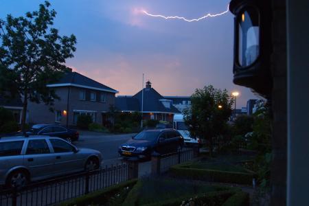 风暴, 街道, 云彩, 闪电, 天堂, 房屋, 树