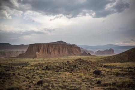干旱, 峡谷, 国会礁国家公园, 悬崖, 多云, 沙漠, 干