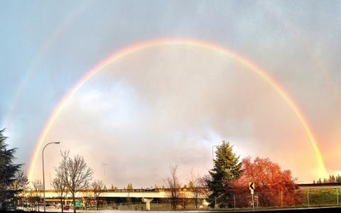 彩虹, 日落, 贝尔维尤, 华盛顿
