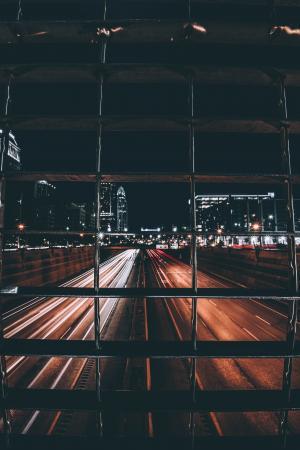 时差, 照片, 城市, 街道, 夜间, 建设, 晚上