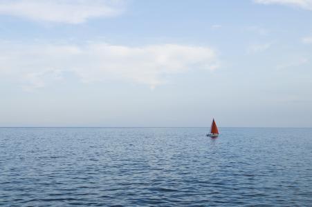 小船, 地平线, 海洋, 航行中的船, 咸水, 海, 海水