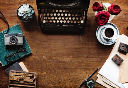 木制, 表, 咖啡, 眼镜, 相机, 打字机, 铅笔