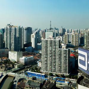 全景, 上海, 大城市, 中国, 建设, 摩天大楼, 天际线