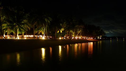 夜间拍摄, 海滩, 海岛天堂, lankanfushi, 沙滩晚餐, 吃, 假日