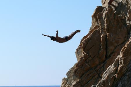 阿卡普尔科, la 峡谷, 岩石, 跳入水中, 水, 海洋, 海