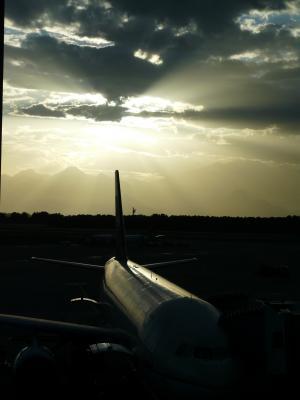 机场, 飞机, 到达, 离开, 日落, 山脉, 安塔利亚