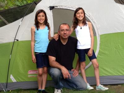幸福的家庭, 露营, 家庭, 人, 度假, 女儿, 帐篷