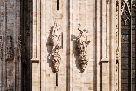 教会, 哥特式, 大教堂, 列, 雕塑, 石头, 墙上