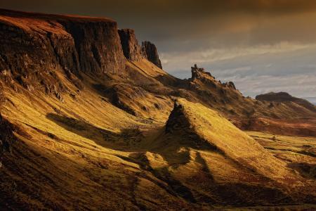 景观, 苏格兰, 自然, 高地和岛屿, quairaing, 山脉, 斯凯