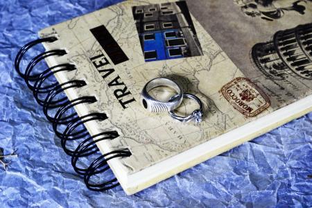 光画, 笔记本, 戒指, 爱, 浪漫, 叶, 干叶