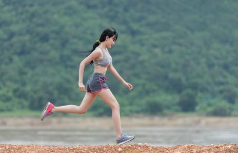 女士, joging, 高峰, 体育, 户外, 眼睛, 高加索人