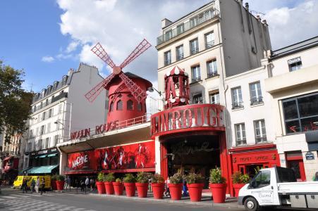 巴黎, 穆棱胭脂, 歌舞表演, 建筑外观, 街道, 云的天空, 红色