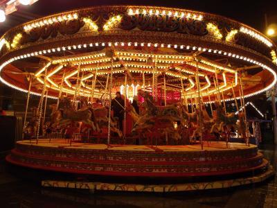 旋转木马, 为喜悦, 很好, 夜景, 游乐园里的过山车, 游乐园, 旅游嘉年华