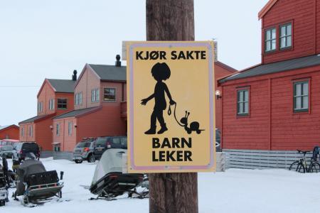 孩子们, 安全, 路标, 挪威, 斯瓦尔巴群岛, 摩托雪橇, 房屋