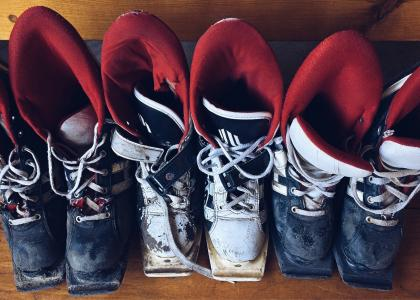 滑雪, 靴子, 戴, 设备, 老, 皮革, 体育