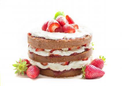 蛋糕, 烘烤, 巧克力, 草莓, 奶油, 甜, 装饰