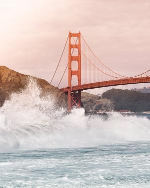桥梁, 海洋, 海, 飞溅, 水, 波, 金门大桥