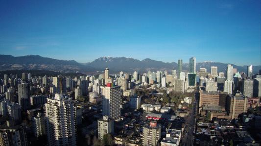 温哥华, 加拿大, 城市, 空中, 无人驾驶飞机, 山脉, 城市景观