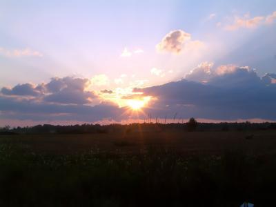日落, 地平线, 黄昏, 天空, 云彩, 晚上, 景观