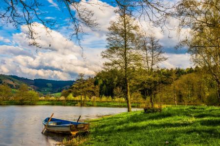 启动, 湖, 水, 划艇, 景观, 鱼, 银行