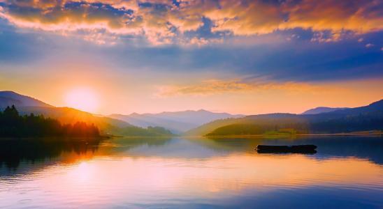 罗马尼亚, 湖, 水, 几点思考, 全景, 日落, 黄昏
