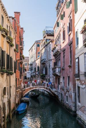 威尼斯, 意大利, 运河, 建筑, 吊船, 桥梁, 威尼斯