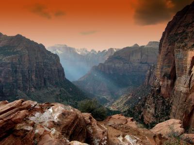 锡安公园, 犹他州, 山脉, 景观, 风景名胜, 日落, 日出