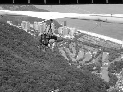 悬挂滑翔, 黑色和白色, 景观, 冒险, 海滩, 飞行