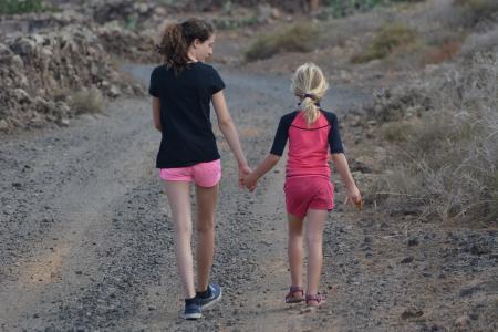 儿童, 友谊, 人, 女孩, 徒步旅行, 妇女, 户外