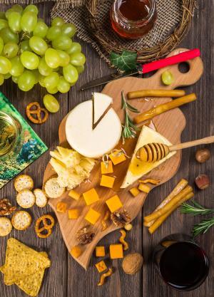 开胃菜, 各种, 碗里, 奶酪, 饼干, 烹饪, 美食