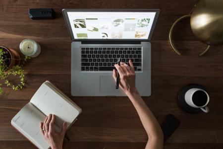 计算机, 办公桌, 手, 笔记本电脑, 笔记本, 规划师, 表