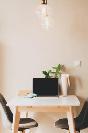 黑色, 灰色, 笔记本电脑, 计算机, 表, 墙上, 光