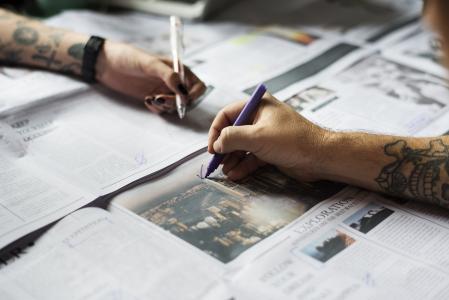 手, 标记, 标记, 新闻, 报纸, 纸张, 钢笔