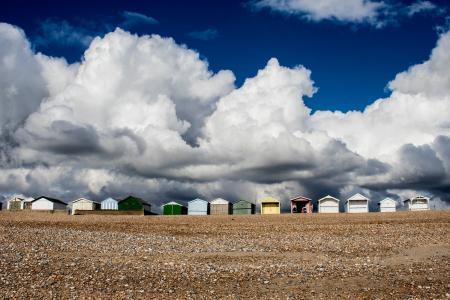 海滩小屋, 英国, 肖勒姆海, 天空, 沿海, 英国, 南海岸