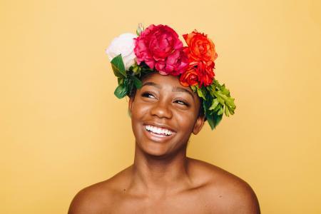 成人, 面部表情, 女性, 鲜花皇冠, 花, 快乐, 女士