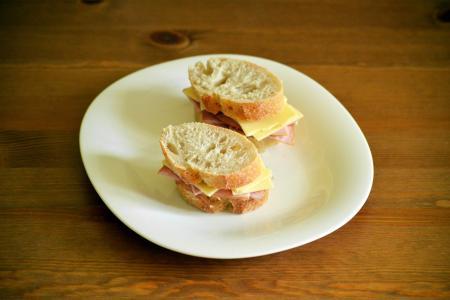 三明治, 火腿, 奶酪, 面包, 乡村, 午餐, 食品