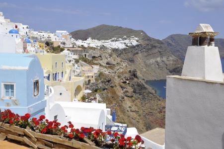 圣托里尼岛, 白色, 蓝色, 希腊, 岛屿, 海, 石灰