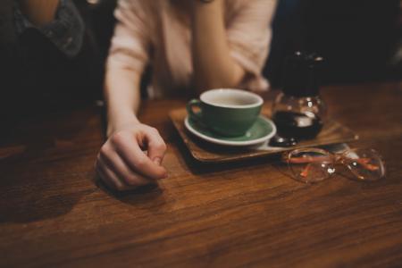 成人, 模糊, 特写, 咖啡, 杯, 饮料, 眼镜