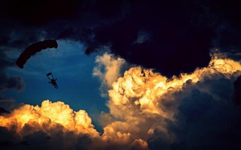 降落伞, 跳伞者, 滑翔伞, 空气运动, 飞, 体育, 休闲