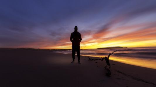 背光, 海滩, 黎明, 黄昏, 景观, 光, 海洋